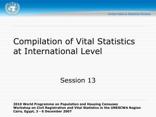 Gathering of Vital Statistics at International Level