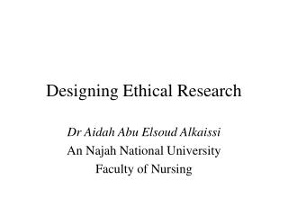 Planning Ethical Research