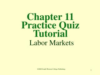 Section 11 Practice Quiz Tutorial Labor Markets