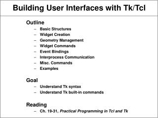 Building User Interfaces with Tk