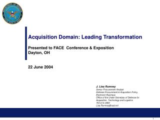 Securing Domain: Leading Transformation Presented to FACE Conference Exposition Dayton, OH 22 June 2004