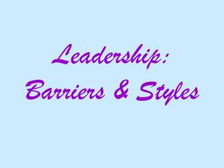 Initiative: Barriers Styles