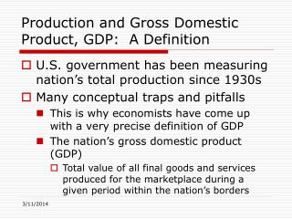 Generation and Gross Domestic Product, GDP: A Definition