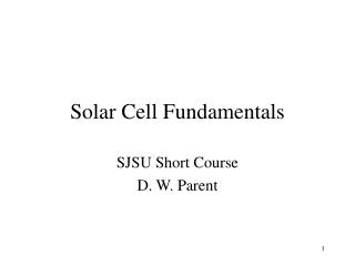 Sun based Cell Fundamentals