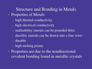 Structure and Bonding in Metals