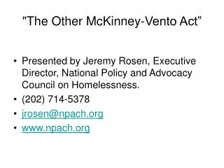 The Other McKinney-Vento Act