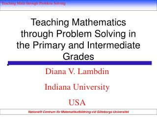 Showing Mathematics through Problem Solving in the Primary and Intermediate Grades