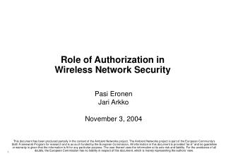 Part of Authorization in Wireless Network Security