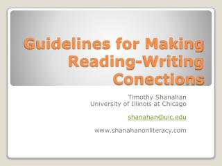 Rules for Making Reading-Writing Conections