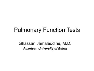 Pneumonic Function Tests