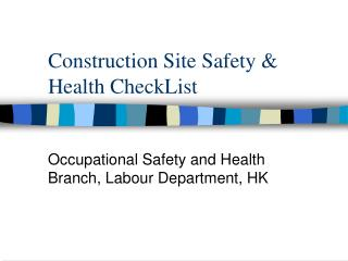 Development Site Safety Health CheckList