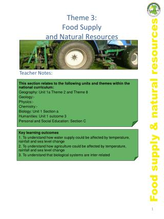 Subject 3: Food Supply and Natural Resources
