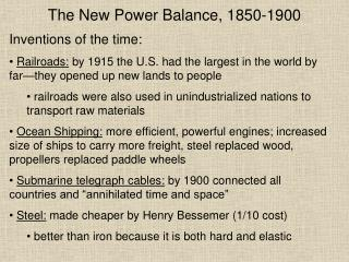 The New Power Balance, 1850-1900