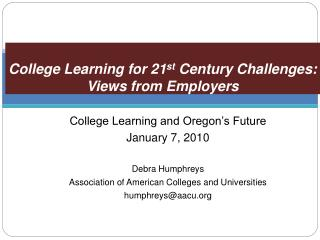 School Learning for 21st Century Challenges: Views from Employers