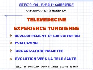 SIT EXPO 2004 E-HEALTH CONFERENCE