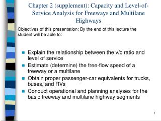 Section 2 supplement: Capacity and Level-of-Service Analysis for Freeways and Multilane Highways