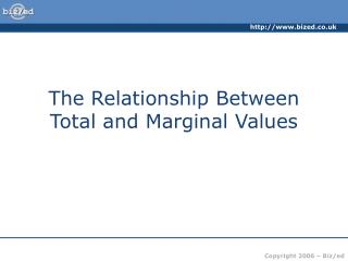 The Relationship Between Total and Marginal Values
