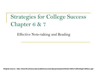 Methodologies for College Success Chapter 6 7