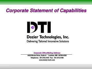 Corporate Statement of Capabilities