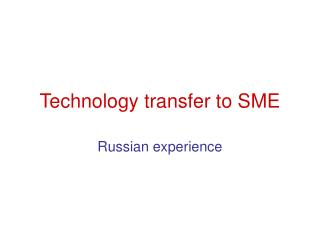 Innovation exchange to SME