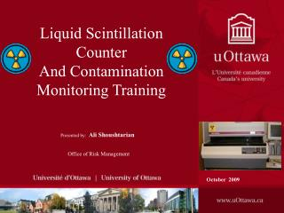 Fluid Scintillation Counter And Contamination Monitoring Training
