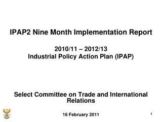 IPAP2 Nine Month Implementation Report 2010