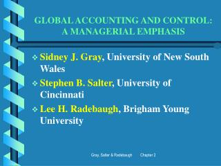 Worldwide ACCOUNTING AND CONTROL: A MANAGERIAL EMPHASIS