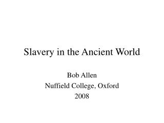 Subjection in the Ancient World