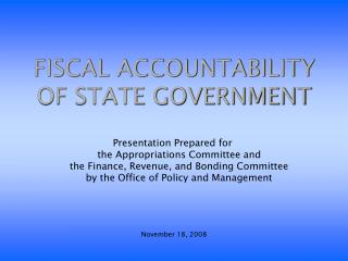 Financial ACCOUNTABILITY OF STATE GOVERNMENT