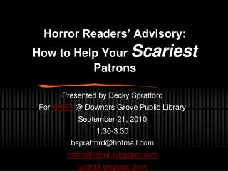 Awfulness Readers Advisory: How to Help Your Scariest Patrons
