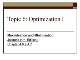Point 6: Optimization I