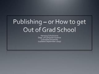 Distributed or How to escape from Grad School