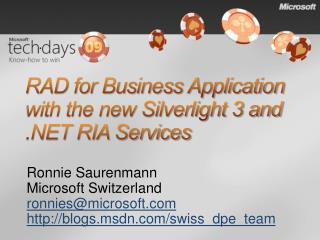 RAD for Business Application with the new Silverlight 3 and RIA Services