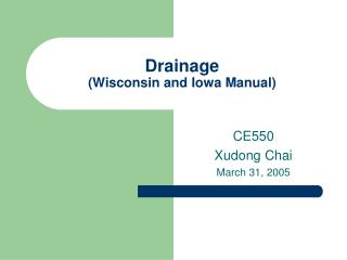 Seepage Wisconsin and Iowa Manual