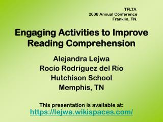 Connecting with Activities to Improve Reading Comprehension