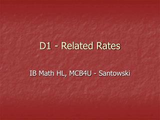 D1 - Related Rates