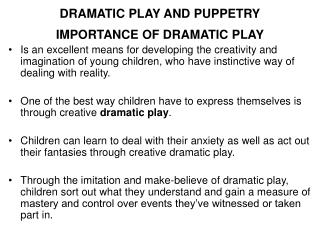 Emotional PLAY AND PUPPETRY