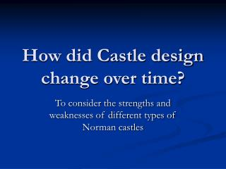 How did Castle configuration change after some time