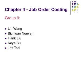 Part 4 - Job Order Costing