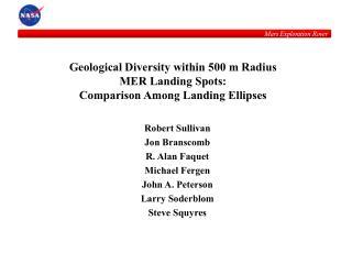 Topographical Diversity inside of 500 m Radius MER Landing Spots: Comparison Among Landing Ellipses