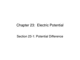 Section 23: Electric Potential