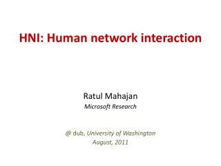 HNI: Human system communication