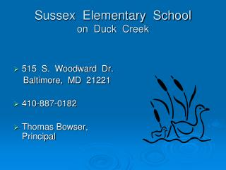 Sussex Elementary School on Duck Creek