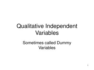 Subjective Independent Variables