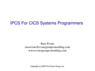 IPCS For CICS Systems Programmers