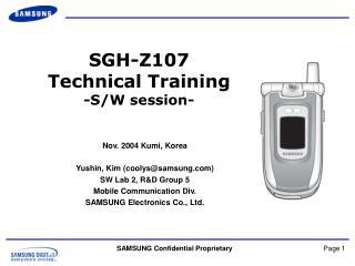 SGH-Z107 Technical Training - S