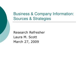 Business Company Information: Sources Strategies