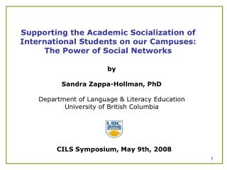 Supporting the Academic Socialization of International Students on our Campuses: The Power of Social Networks