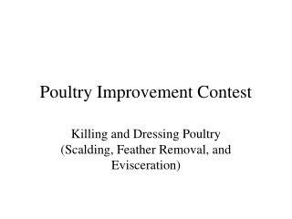 Poultry Improvement Contest