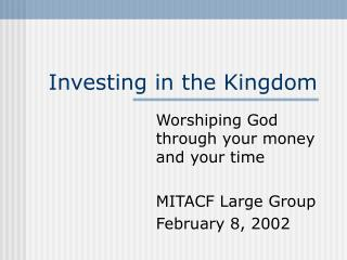 Putting resources into the Kingdom
